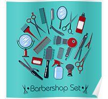 Barber and Hairdresser Tools Set Poster