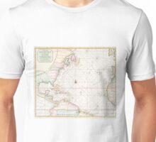 Vintage Atlantic Ocean & North America Map (1700s) Unisex T-Shirt