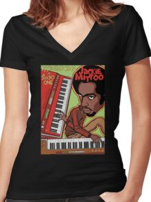 KEYBOARD KING AT STUDIO ONE Women's Fitted V-Neck T-Shirt