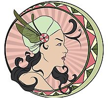 Art Nouveau - Pink & Green Photographic Print