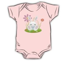 Little Blue Baby Bunny With Flowers One Piece - Short Sleeve