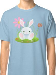 Little Blue Baby Bunny With Flowers Classic T-Shirt