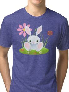 Little Blue Baby Bunny With Flowers Tri-blend T-Shirt