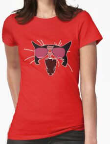 Cat with Pink Aviators Womens Fitted T-Shirt
