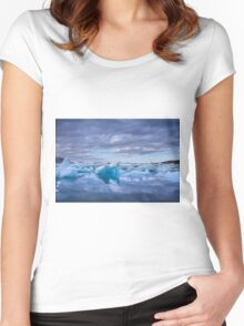 Beautiful view of icebergs in Jokulsarlon glacier lagoon, Iceland Women's Fitted Scoop T-Shirt
