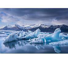 Beautiful view of icebergs in Jokulsarlon glacier lagoon, Iceland Photographic Print