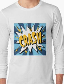 Bubble with Expression Crash in Vintage Comics Style Long Sleeve T-Shirt