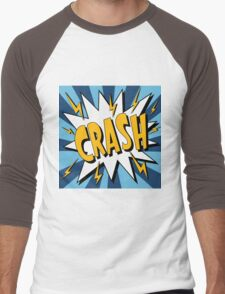 Bubble with Expression Crash in Vintage Comics Style Men's Baseball ¾ T-Shirt