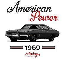 Dodge Charger 69  (black) Photographic Print