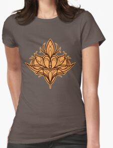 Damask Lily - Orange Womens Fitted T-Shirt