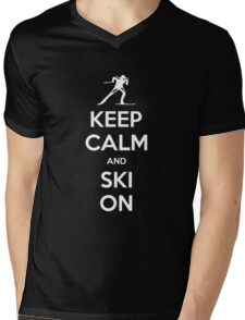 KEEP CALM AND SKI ON Mens V-Neck T-Shirt