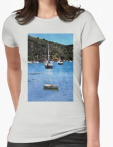 Luxury yachts in Watercolor Womens Fitted T-Shirt
