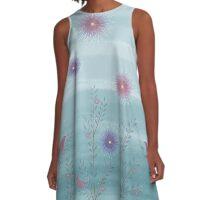 Twigs Birds Flowers - Blue A-Line Dress