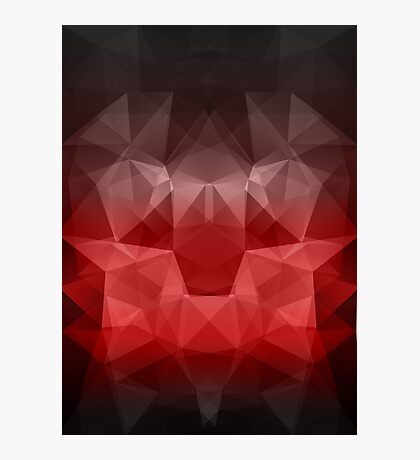 Abstract background of triangles polygon wallpaper in black red colors Photographic Print