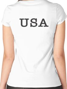 USA, United States of America, Typewriter Font, Pure & Simple Women's Fitted Scoop T-Shirt