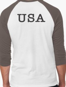 USA, United States of America, Typewriter Font, Pure & Simple Men's Baseball ¾ T-Shirt