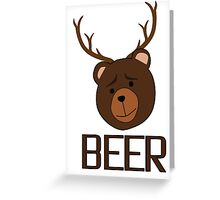 Bear Deer Beer Animals Funny T shirt Grizzly Bear Cool Drinking Drunk Joke Greeting Card