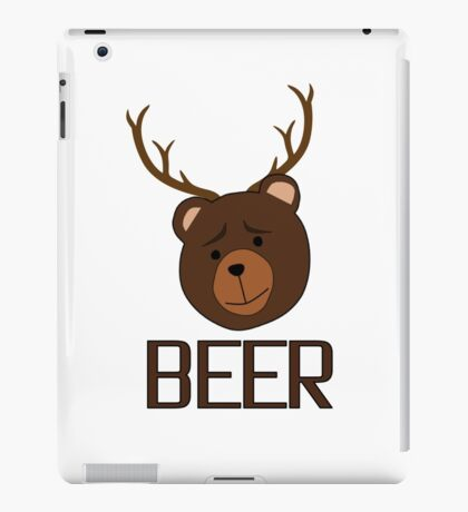 Bear Deer Beer Animals Funny T shirt Grizzly Bear Cool Drinking Drunk Joke iPad Case/Skin