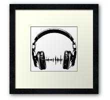 Headphones - Black Framed Print