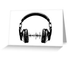 Headphones - Black Greeting Card