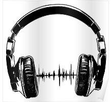 Headphones - Black Poster