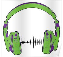 Headphones - Green and Purple Poster