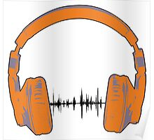 Headphones - Orange and Gray Poster