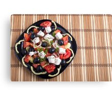 Top view of a Greek salad with fresh vegetables Canvas Print