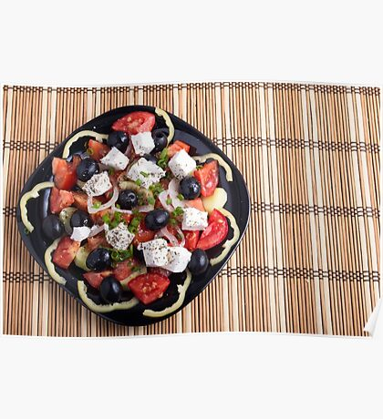 Top view of a Greek salad with fresh vegetables Poster