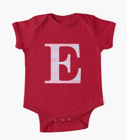 Letter E Blue And Pink Dots And Dashes Monogram Initial One Piece - Short Sleeve