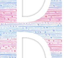 Letter E Blue And Pink Dots And Dashes Monogram Initial Sticker