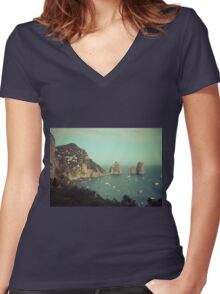 Amalphi coast, Capri, Italy 4 Women's Fitted V-Neck T-Shirt