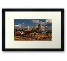 Train and Downtown Raleigh Framed Print