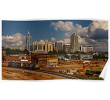 Train and Downtown Raleigh Poster