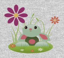 Little Green Baby Bunny With Flowers One Piece - Long Sleeve
