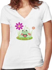 Little Green Baby Bunny With Flowers Women's Fitted V-Neck T-Shirt