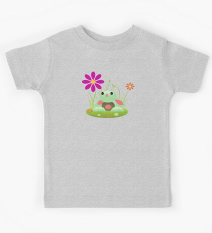 Little Green Baby Bunny With Flowers Kids Tee