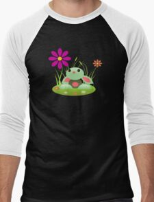 Little Green Baby Bunny With Flowers Men's Baseball ¾ T-Shirt