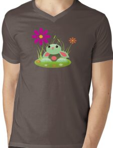 Little Green Baby Bunny With Flowers Mens V-Neck T-Shirt