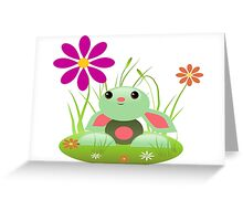 Little Green Baby Bunny With Flowers Greeting Card