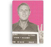 Steve McQueen Mug Shot - Pink Canvas Print