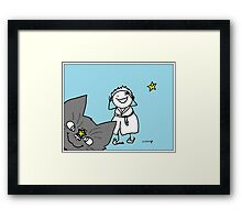 Cat jumping in front of camera with woman laughing and stars smiling Framed Print