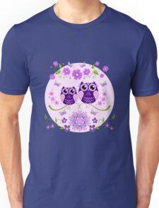 Cute Owls, Flowers and Butterflies Unisex T-Shirt