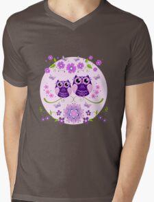 Cute Owls, Flowers and Butterflies Mens V-Neck T-Shirt