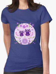 Cute Owls, Flowers and Butterflies T-Shirt