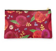 Winter Berry Floral Burgundy Studio Pouch
