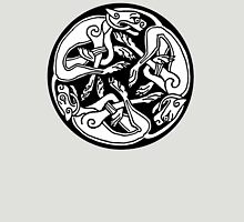 DOGS, CELTS, Celtic, Hounds, Three intertwined dogs, 3 Dogs, Book of Kells, fol. 29r. Unisex T-Shirt