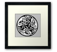 DOGS, CELTS, Celtic, Hounds, Three intertwined dogs, 3 Dogs, Book of Kells, fol. 29r. Framed Print