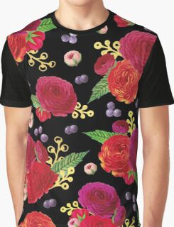 Winter Berry Floral Black Graphic T-Shirt