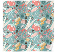 Suddenly Sewing in Teal Poster